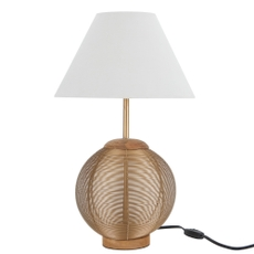 """21"""" BST02 GOLD IRON/WOOD TABLE LAMP"""