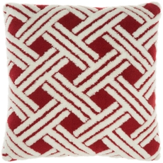 """FAUX FUR TL901 RED 20"""" X 20"""" THROW PILLOW"""