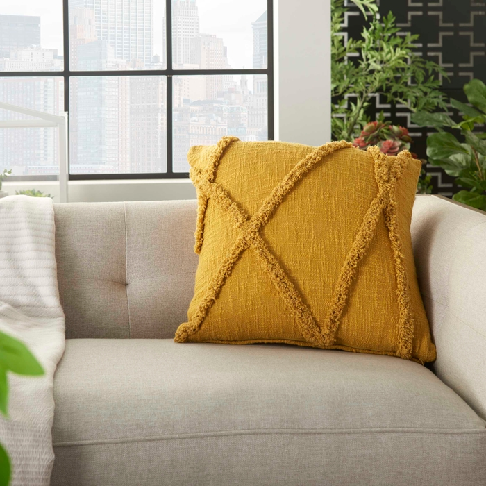 Life Styles Sh018 Mustard 18 X 18 Throw Pillow