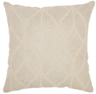 """LIFE STYLES ST154 IVORY/SILVER 18"""" x 18"""" THROW PILLOW"""