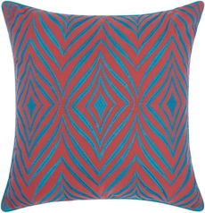 """OUTDOOR PILLOWS L1521 CORAL/TURQUOISE 18"""" x 18"""" THROW PILLOW"""